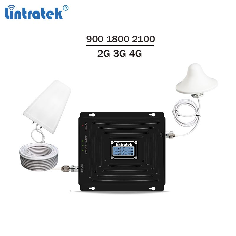 Lintratek Neue Tri-band Repeater 900 1800 2100 Mhz Signal Booster GSM 3G Repeater 4G LTE Booster mobile Signal Verstärker GDW #4,5