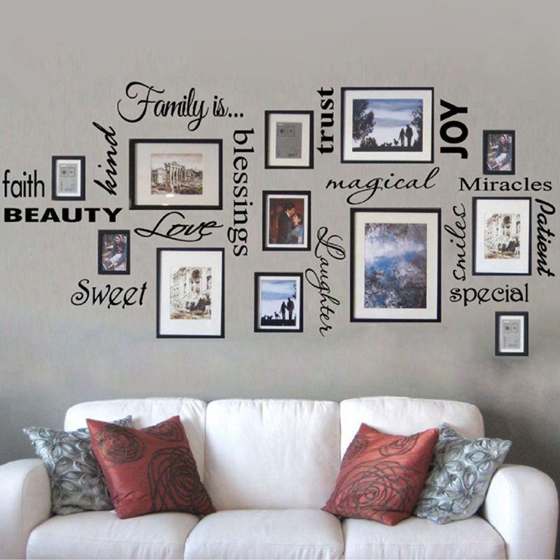 Livraison gratuite famille est vinyle lettrage mural citation art mural/décor/chambre familiale/autocollant, cadres non inclus, f1001b