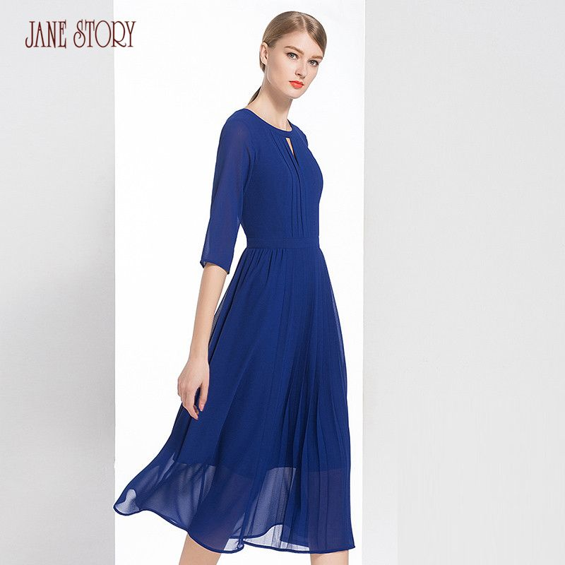 Jane Story 2018 Autumn Women Dress O Neck Three Quarter Sleeve Pleated Front Solid Color Georgette Dress Flare Bottom Fairy