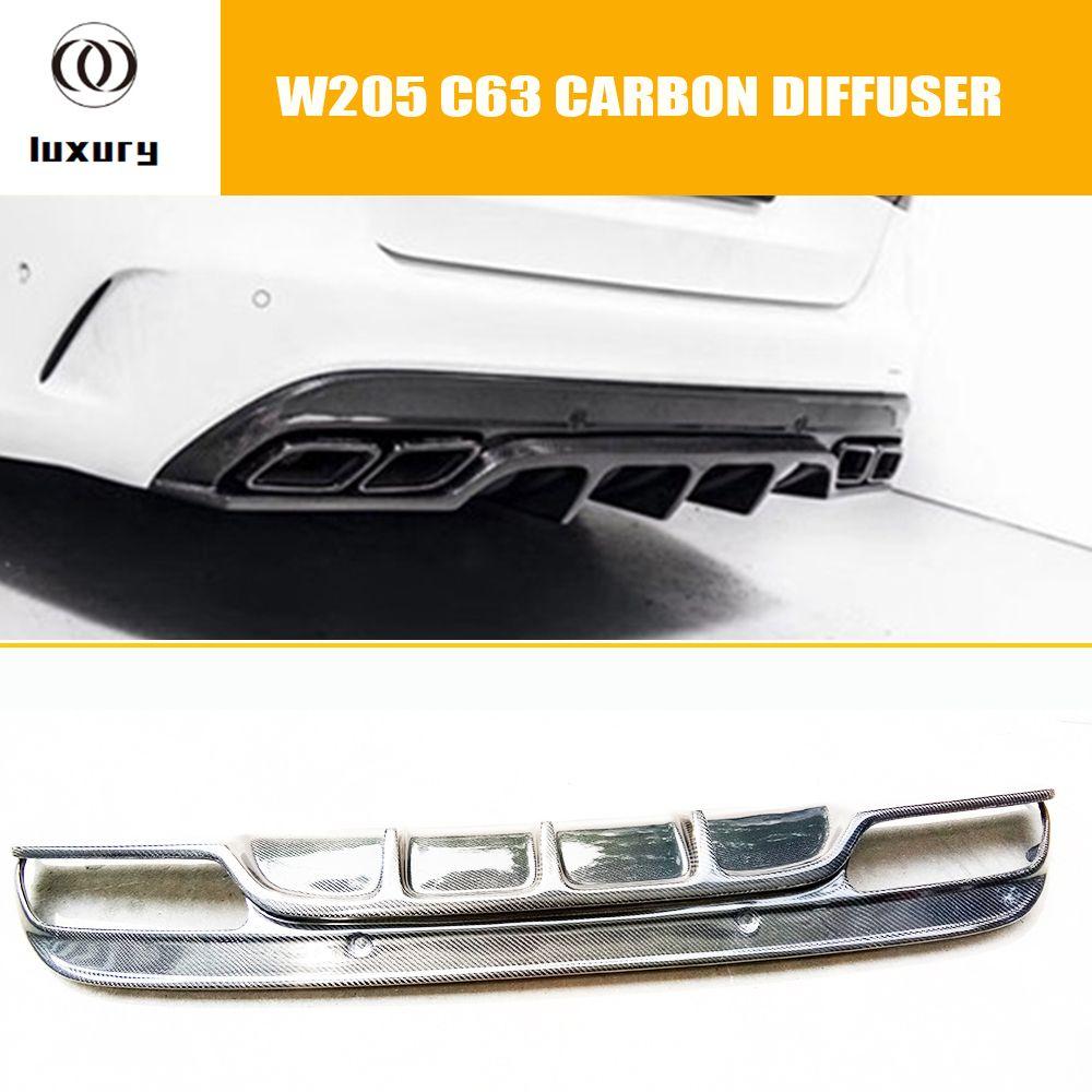 C63 Carbon Faser FD Stil Hinten Bumper Spoiler Lip Diffusor Protector für Benz W205 C63 & C63s Amg 4 Tür