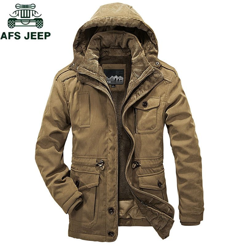 AFSJEEP Brand Thick Two Pieces Winter jacket men detachable wool liner Military parka men Plus Size 4XL Super warm parkas hombre