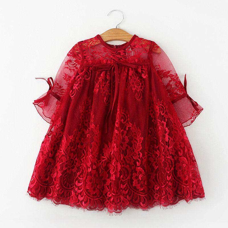 2018 Vestidos de flores de niña niños princesa vestido Niñas Encaje media manga niños disfraz princesa enfant fille 2-9y