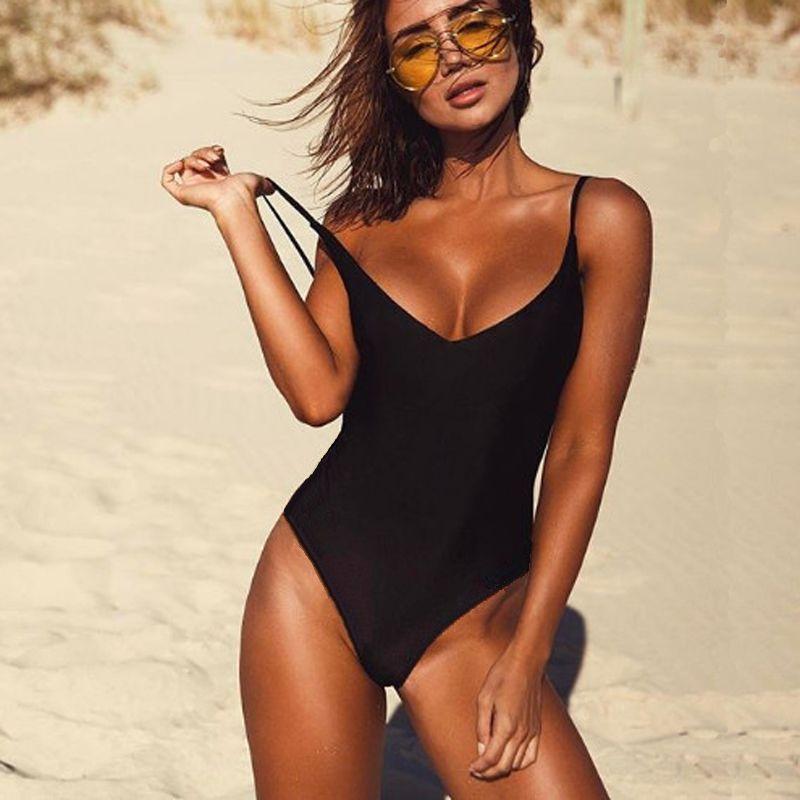 2018 Sexy une pièce Maillot de Bain Femmes Maillots De Bain Femme noir solide String Dos Nu Monokini maillot de bain XL