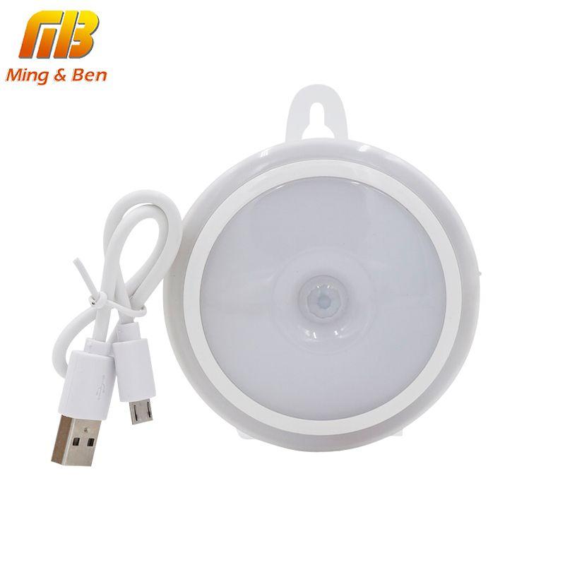 [MingBen] LED Night Light PIR Motion Sensor Round LED Cabinet light Energy Saving Wall Lamp Lighting By USB Charging For Closet