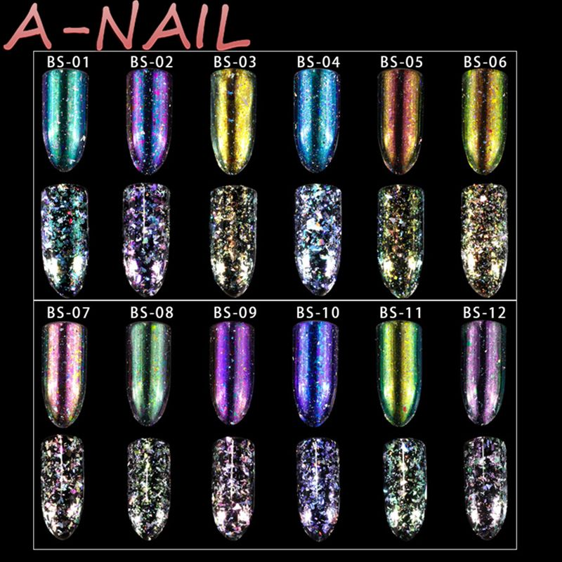 12 colors/set Aurora Holo Chameleon Nail Glitter Sequins Flakes Holographic Shining UV gel Chameleon Nail Flakies Sequins