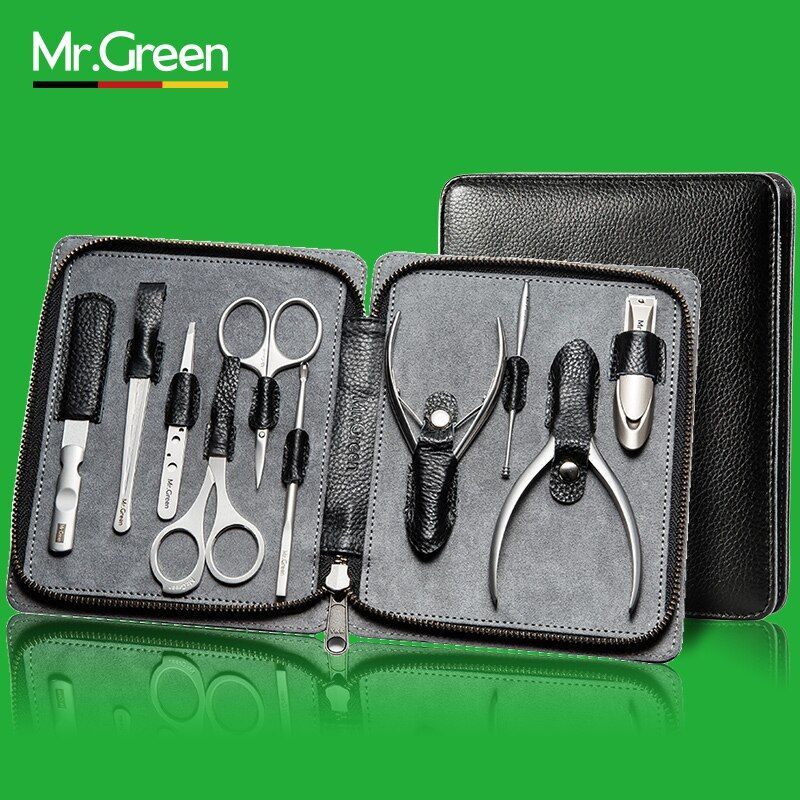 MR.GREEN 10 Pcs manicure pedicure nail clipper trimmer stainless Steel Toe nail cutter Genuine Leather nail scissors tools