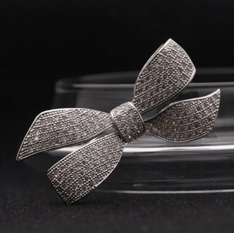 White Gold Tone Rhinestone Crystal Diamante Bow Tie Brooch Pin Gift Accessory