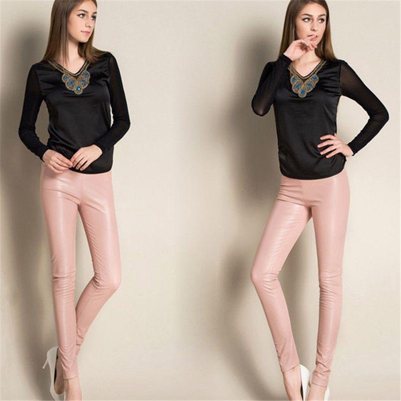 2019 Nouveau Printemps Femmes Marque Vêtements Taille Haute Slim Faux Pantalon En Cuir Dame De Mode Polaire Skinny En Cuir PU Pantalon Leggings