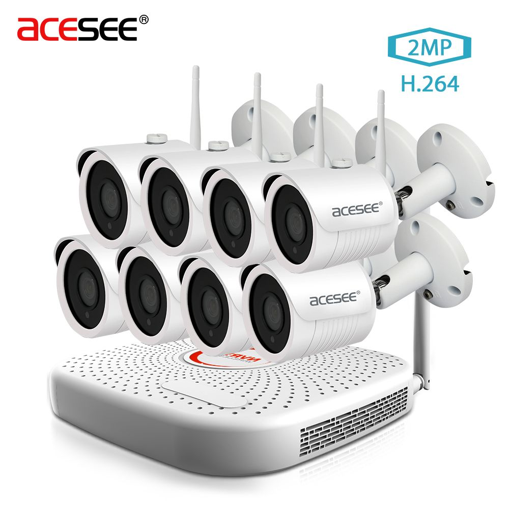 ACESEE 8CH CCTV System Wireless1080P wifi NVR 8PCS 2MP IR Outdoor Street P2P WI-FI IPCam Security Camera System Surveillance Kit