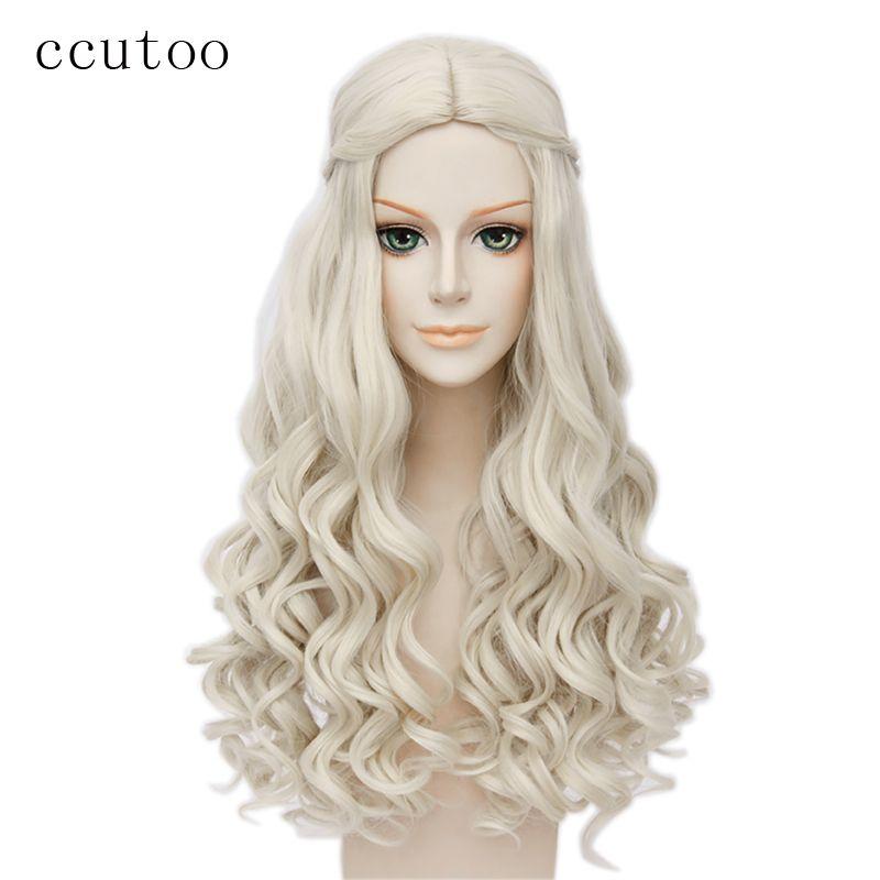 Ccutoo Alice au Pays Des Merveilles Reine Blanche Cosplay Perruque Blonde Ondulés Longue Tresse de Style Synthétique Cheveux Résistance À La Chaleur Fiber