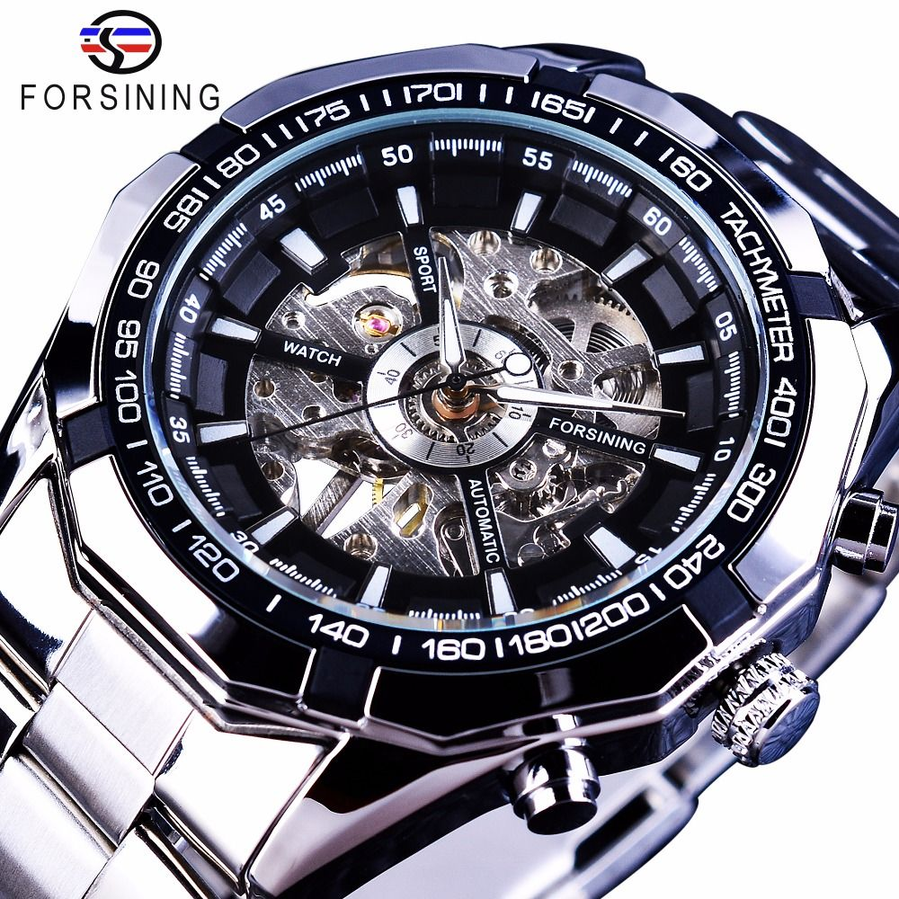 Forsining 2017 Silver Stainless Steel Waterproof Mens Skeleton Watches Top Brand Luxury Transparent <font><b>Mechanical</b></font> Male Wrist Watch