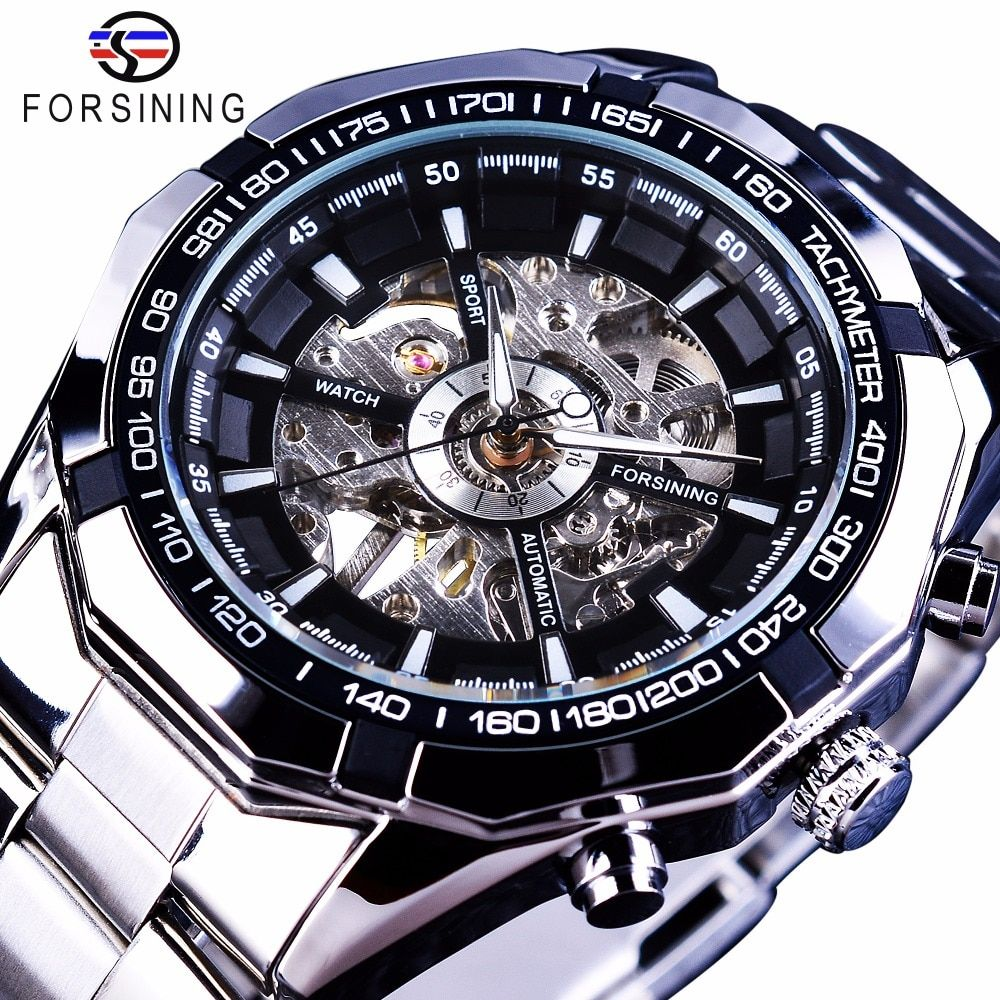 Forsining 2017 Silver Stainless Steel Waterproof Mens Skeleton Watches Top Brand Luxury Transparent Mechanical Male Wrist Watch