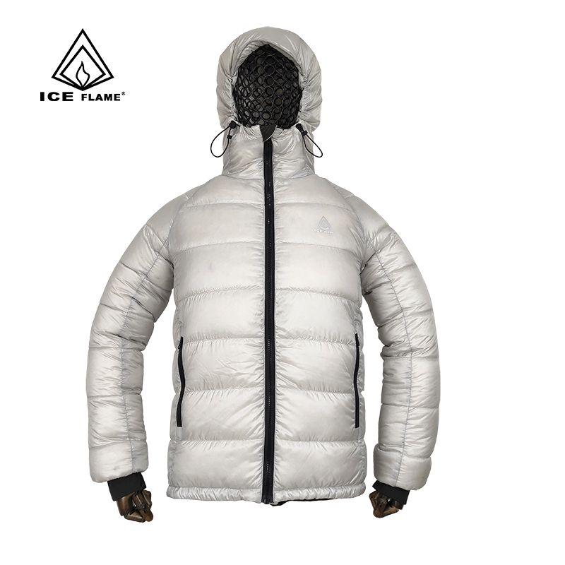 Eis Flamme IF922 Männer Frauen Leichte Mit Kapuze 90% Weiße Gans Unten Puffer Unten Jacke Winter Mantel Voll Zipper Outdoor Camping