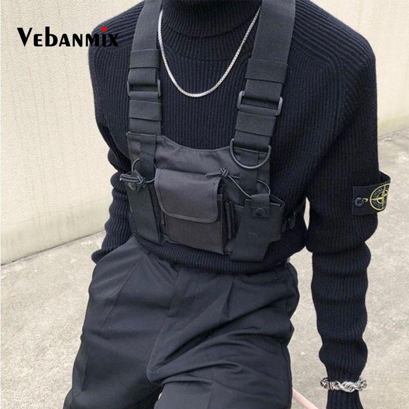 Sac de poitrine en Nylon de mode gilet noir Hip Hop Streetwear fonctionnel tactique harnais de poitrine Kanye West Wist Pack sac de poitrine