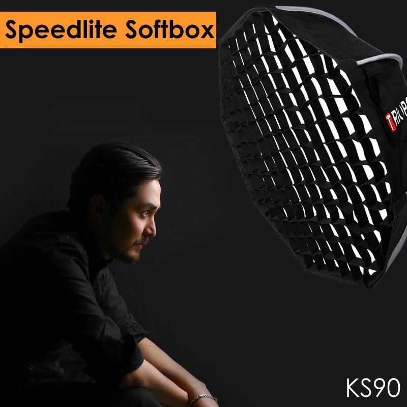 Triopo 90cm Speedlite Portable Outdoor Softbox w/ Honeycomb Grid Outdoor Flash Octagon Umbrella Soft Box for Canon Nikon Godox