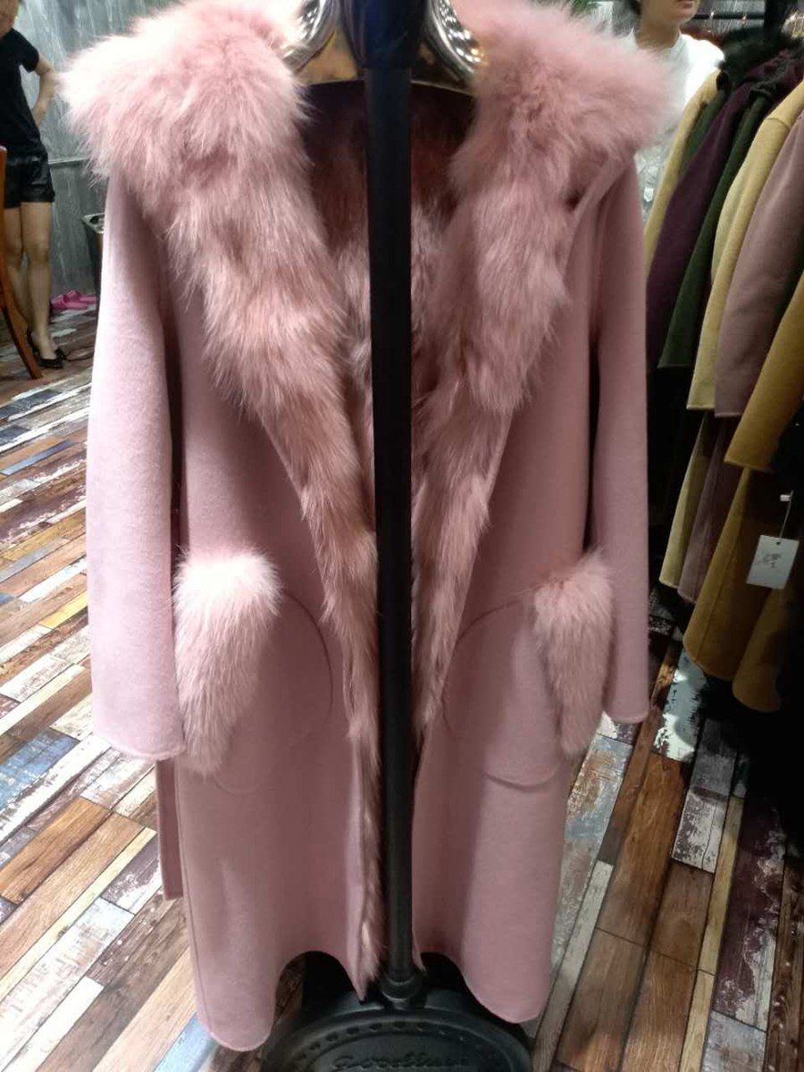 2017 warm women natural sheep fur coat with hoody and real fox fur vest lining parka Detachable spring and autumn outwear vest