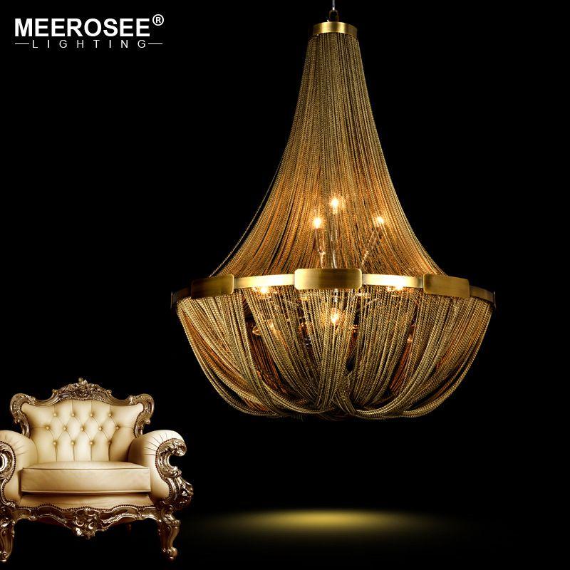 Neue Ankunft Aluminium Kette Kronleuchter Französisch Reich Bronze Farbe Post Kette Beleuchtung Hängen Lampe für wohnzimmer Hotel Cafe