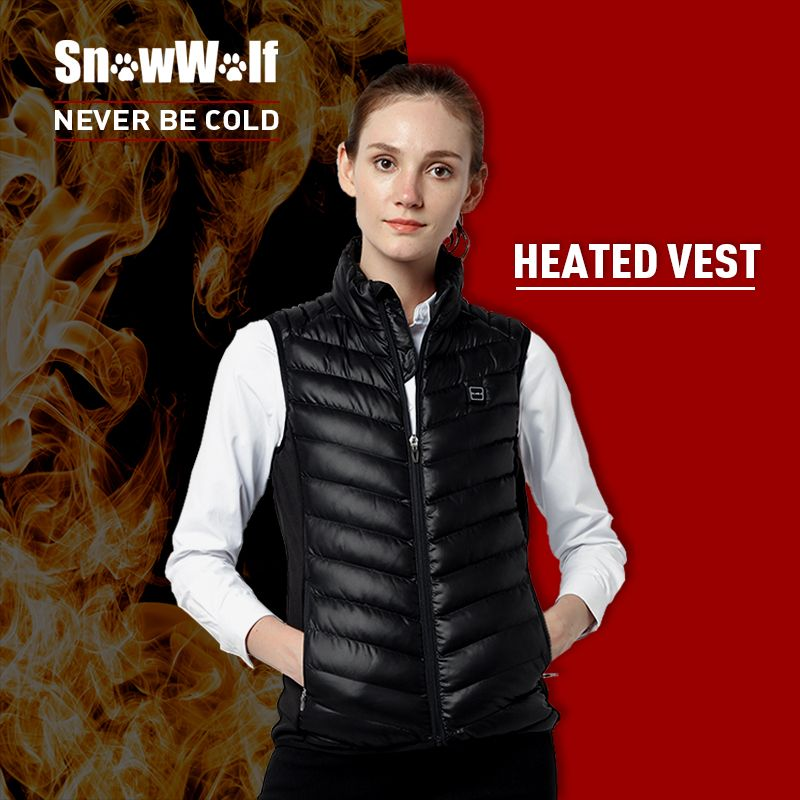 SNOWWOLF Infrared Heating Thermal Black Female Vests Woman's Winter Outdoor Sport Heated Vest for Hiking Running Hunting