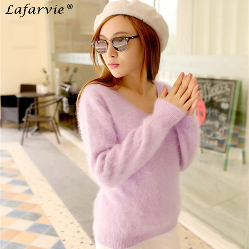 Lafarvie SWETER 100% Mink <font><b>Cashmere</b></font> Sweater Women V-Neck Sweaters & Pullovers Pure Mink <font><b>Cashmere</b></font> Knitted Pullover Ladies Sweater