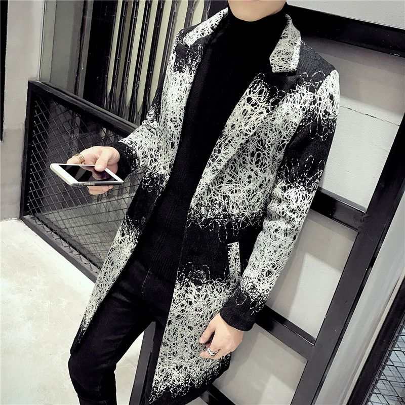 2018 Winter Trench Coat Mens Long Coat Mens Printed Long Coats South Korea Clothing Veste Longue Homme Gabardina Larga Hombre