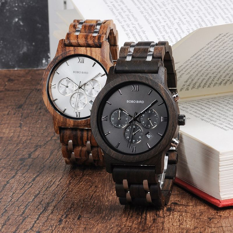 BOBO BIRD Wooden Watches Men Quartz Wristwatch Male Stopwatch Gift reloj hombre Friend in wood box saat erkek Timepieces