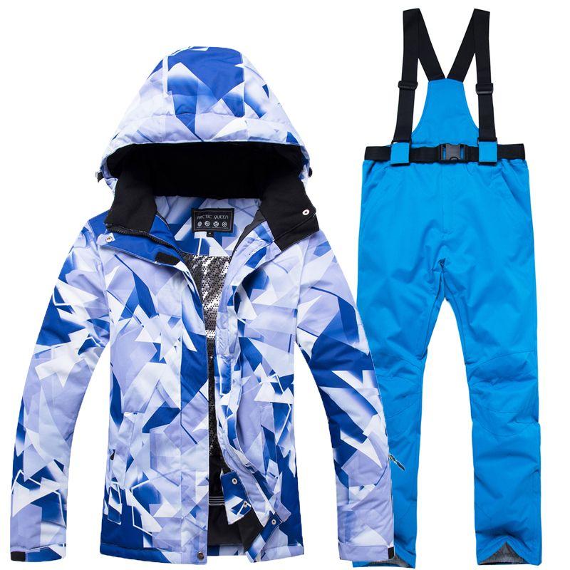 2018 neue qualität winter damen furnier doppel bord ski anzug winddicht wasserdicht warme outdoor sport ski anzug + hosenträger hosen