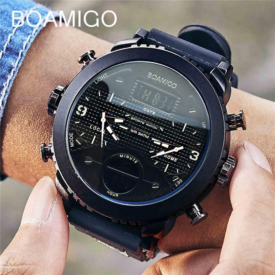 men watches BOAMIGO brand 3 time zone military sports watches male LED digital quartz wristwatches gift box relogio masculino