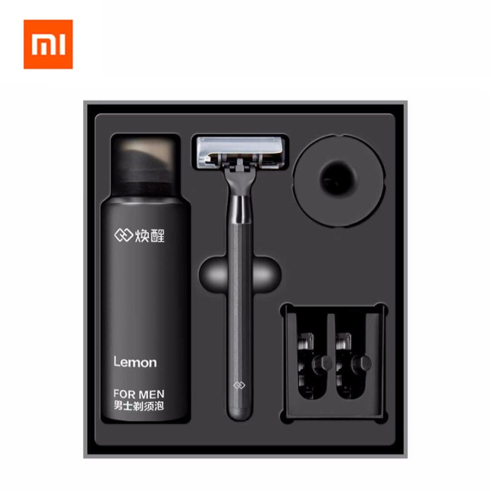 Xiaomi Huanxing 5-layer Blade Manual Razor Set Men Kit German importing Shaving head lemon Shaving bubbles