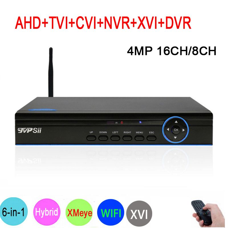 Blue Panel XMeye Hi3531A H264+ 4MP 16CH/8CH 6 in 1 Hybrid WIFI TVi CVI NVR AHD CCTV DVR Surveillance Video Recoder Freeshipping