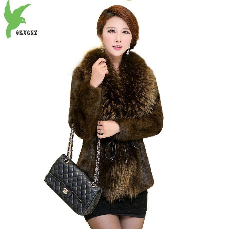 Boutique Kaninchenfell Frauen Winter Jacke Mäntel Waschbären pelzkragen Outerwea Plus größe Weibliche Tops Dicke Warme Pelzmäntel OKXGNZ 1361