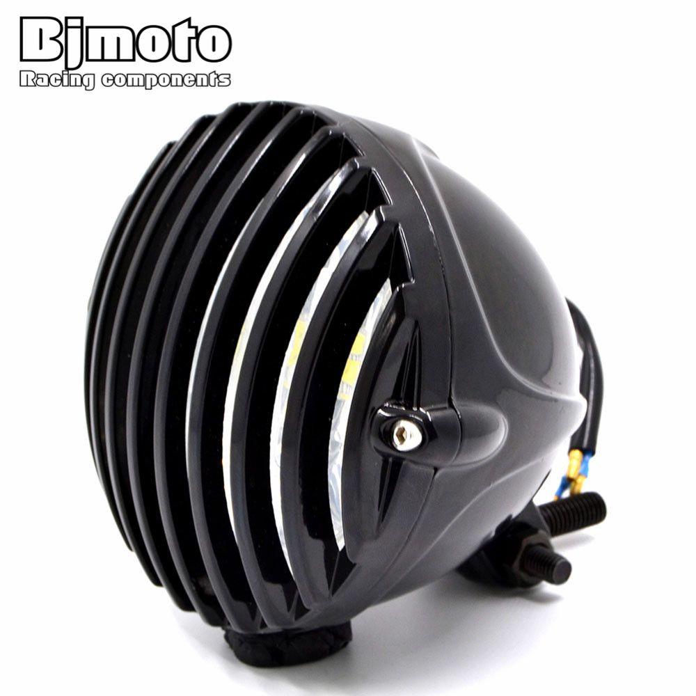 BJMOTO Gross Balck 4-7/8'' LED Motorcycle Headlight Fog Light Headlamp Farol For Harley Cafe Racer Chopper Bobber Touring Custom