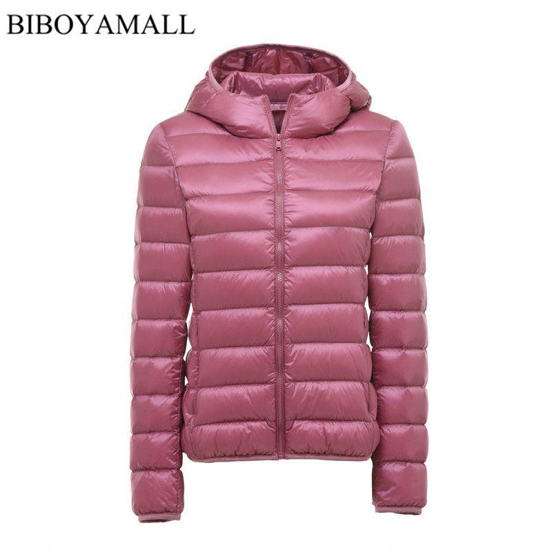 BIBOYAMALL Women Ultra Light Down Jacket Hooded 90% Winter Duck Down Jackets Women Parka Zipper Coats Plus Size XXXL Pink Black