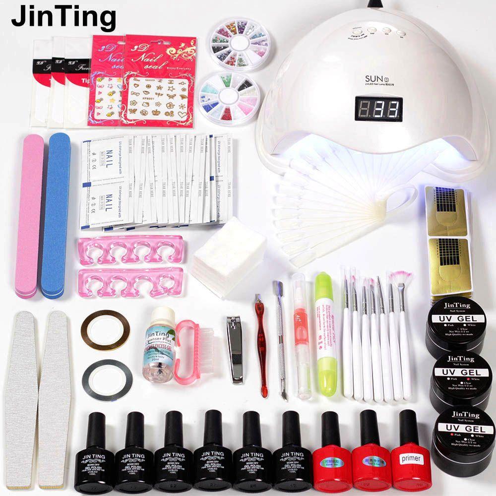 Nail art Kit for nail extensions LED Dryer 6W/48W Lamp 6pcs Polish Uv Paint gel varnish all for Nails Set for Manicure set