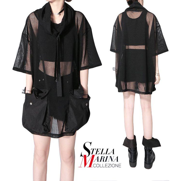 New 2017 Korean Style Women Summer Mesh Tee Top Half Sleeve Transparent Cool Black Tee Shirt femme Hipster Harajuku T-shirt 1549