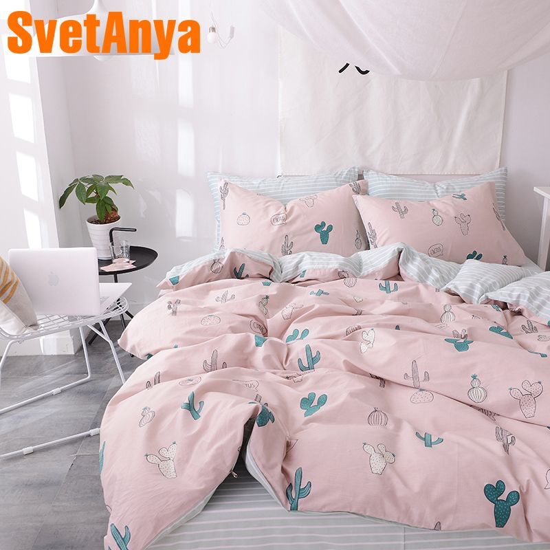 Svetanya Plants Print Sheet Pillowcase and Quilt Cover Sets 100% Cotton Bedlinen Twin Double Queen King Size Bedding Set