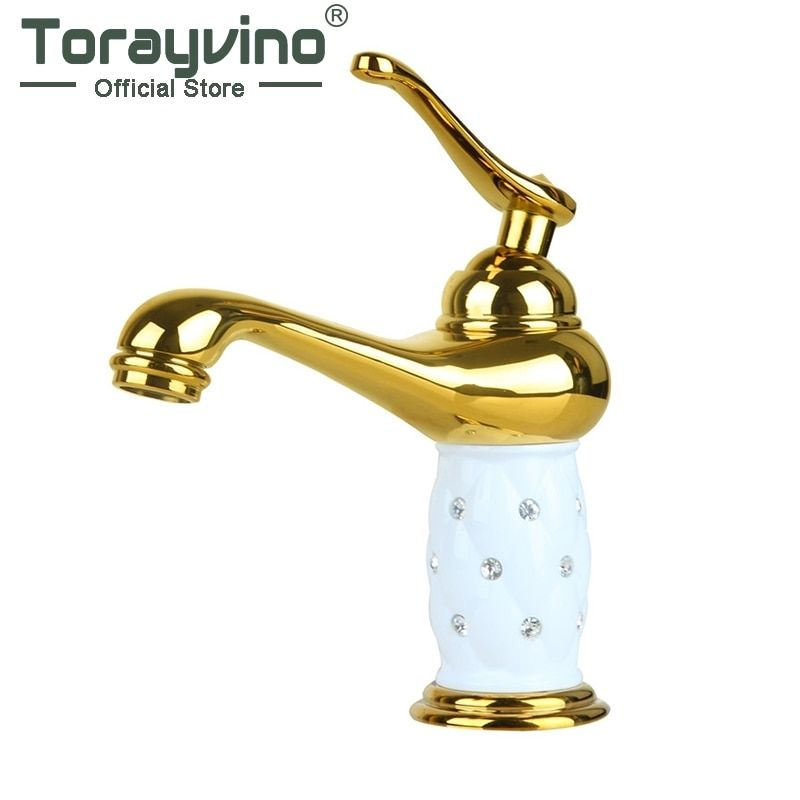 Torayvino Bathroom luxury golden Wash Basin Sink Faucet Diamond Crystal Body Tap Single Handle <font><b>Deck</b></font> Mount basin faucet RU019