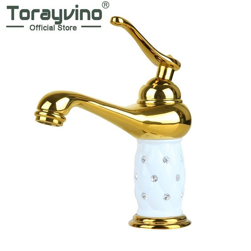Torayvino Bathroom luxury golden Wash Basin Sink Faucet Diamond Crystal Body Tap Single Handle Deck Mount basin faucet RU019
