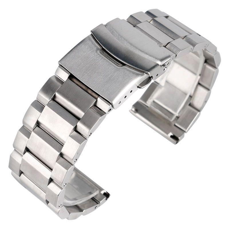 Bracelet en argent de haute qualité Bracelet de montre en acier inoxydable solide 18mm 20mm 22mm 24mm Bracelet réglable en métal Bracelet de montre hommes femmes