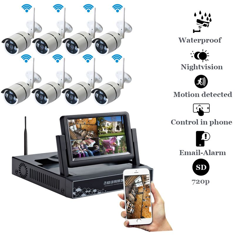 Plug and Play 8CH 1080P HD Wireless NVR Kit P2P 720P 1MP Indoor Outdoor IR Night Vision Security IP Camera WIFI CCTV System