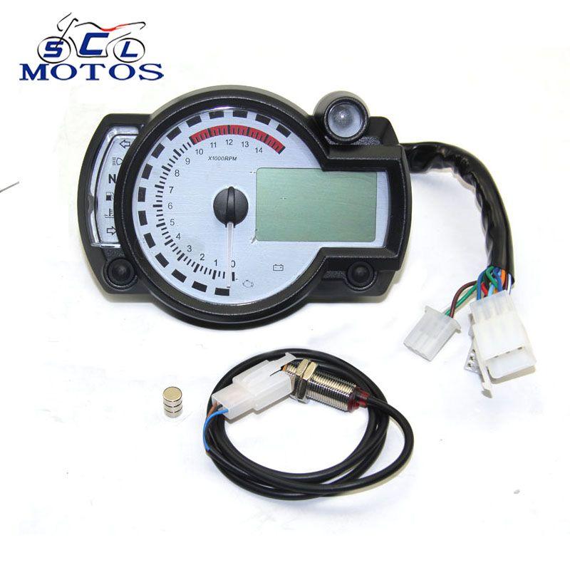 Sclmotos- for Koso Motorcycle Digital Light LCD Digital Gauge Speedometer Tachometer Odometer Adjustable MAX 299KM/H Meter