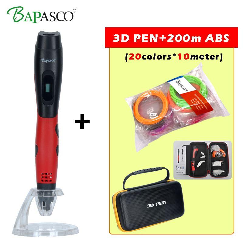 3D Stylo + 200 Mètre (20 Couleur) ABS Filament Bapasco BP-04 2018 3D Doodle Stylo ABS/PLA Filaments Écran OLED USB Charge 3D Magic Pen
