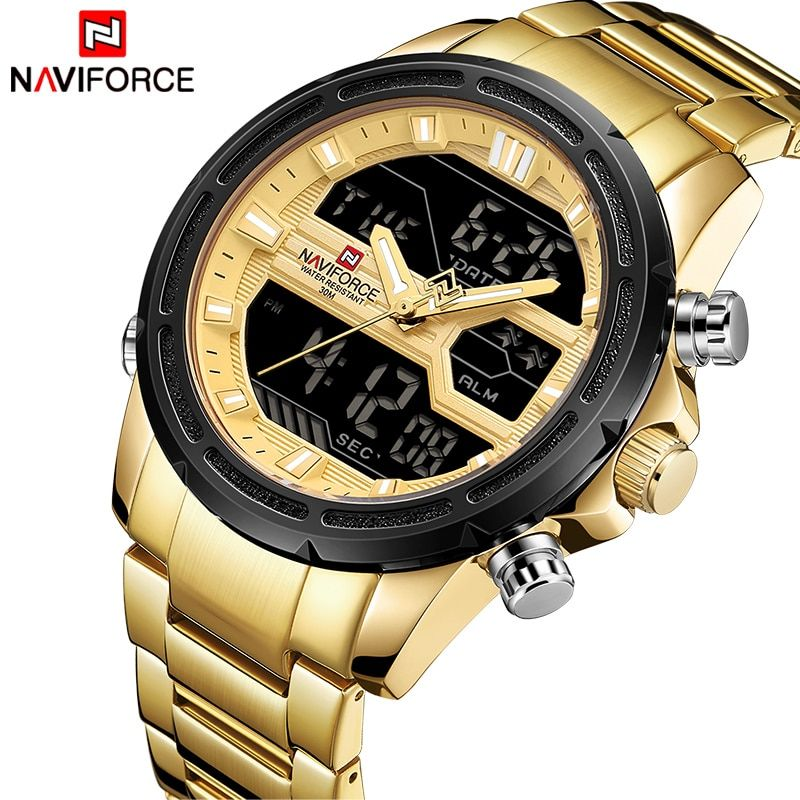 2018 New NAVIFORCE Men Fashion Sport Watches Men's Gold Quartz Watch Male Stainless Steel Waterproof LED Analog Digital Clock