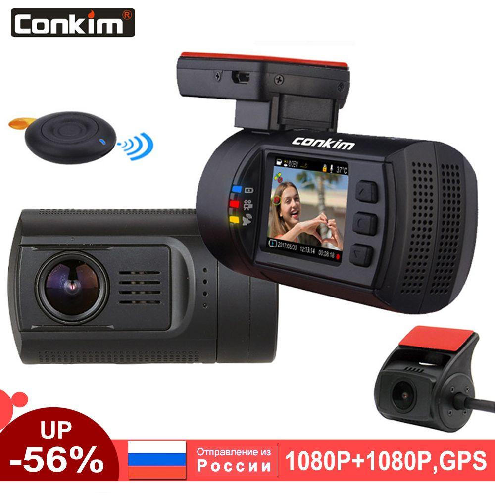 Conkim double objectif voiture Dash caméra GPS DVR avant 1080 P FHD + caméra arrière 1080 P FHD Parking garde Auto registraire Mini 0906 Dash Cam