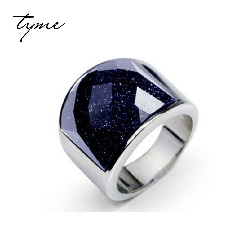 TYME starry sky men's ring 316L Titanium Ring Black Onyx Ring will never fade <font><b>domineering</b></font> White silver Plated Christmas Gift