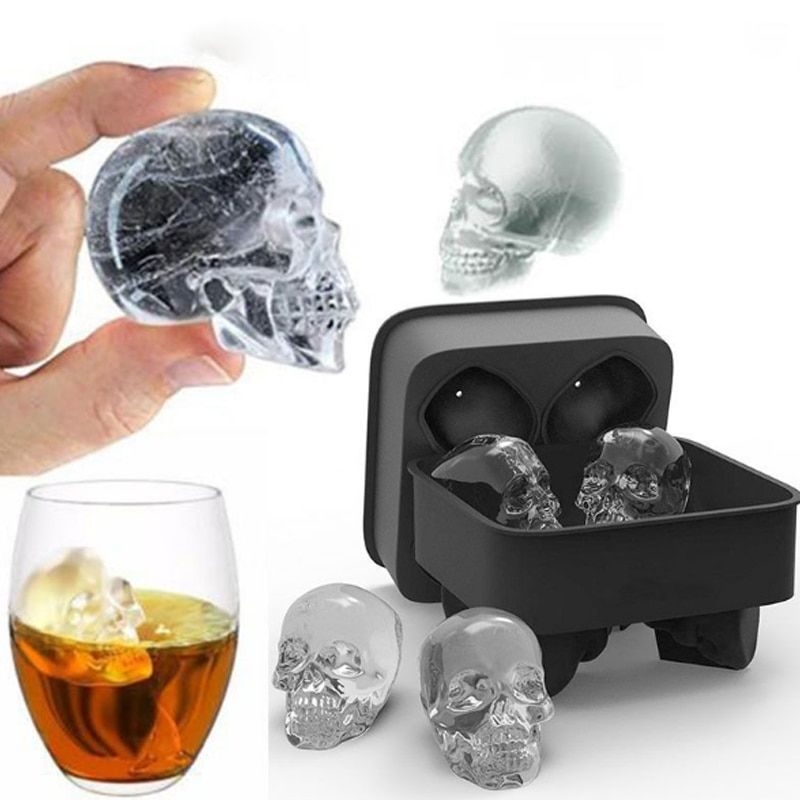 Hot Large Ice Tool Tray Pudding Mold 3D Skull Silicone Mold 4-Cavity DIY Ice Maker Household Use Kitchen Accessories