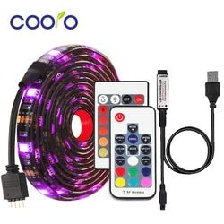 RGB светодиодные ленты Водонепроницаемый DC 5 в USB светодиодный свет лента гибкое освещение 5050 0,5 м 1 м 2 м с пультом дистанционного управления д...