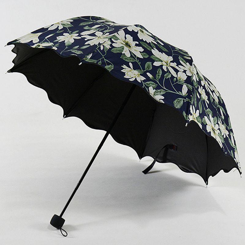 2019 nouveauté haute qualité Lily motif femmes parapluie résistant aux UV parasol parapluies noir revêtement femelle paraguay US043