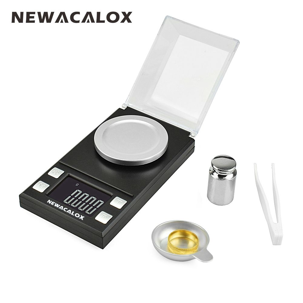 NEWACALOX 50g/0.001g LCD Digital Jewelry Scales Lab Weight High Precision Scale Medicinal Use Portable Mini Electronic Balance