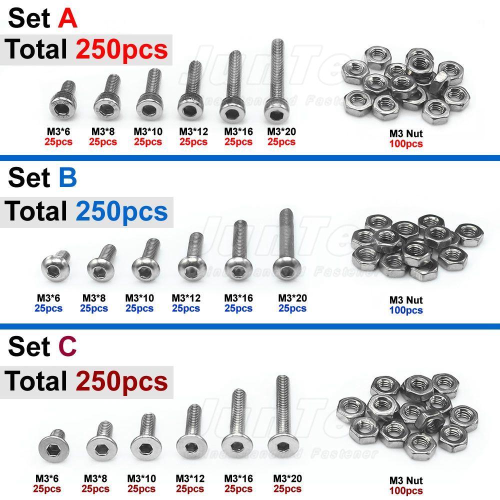 250 pièces M3 (3mm) A2 boulons Allen en acier inoxydable bouton hexagonal vis à tête plate avec assortiment d'écrous
