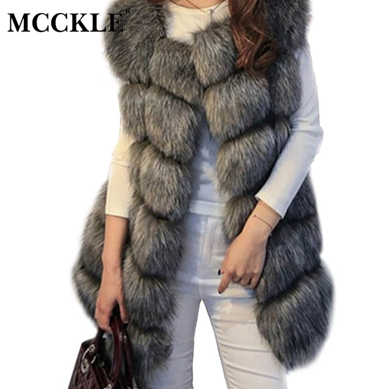 MCCKLE High Quality Fur Vest Coat Luxury Faux Fox Warm Women Coats Vest Winter Fashion Fur Women's Coat Jacket Vest 4XL Fur Coat